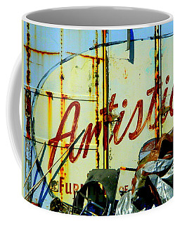 Coffee Mug featuring the photograph Artistic Junk by Kathy Barney