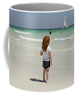 As The Sail Boat Rolls By Coffee Mug by Charles Beeler