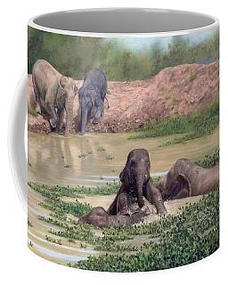 Asian Elephants - In Support Of Boon Lott's Elephant Sanctuary Coffee Mug by Rachel Stribbling