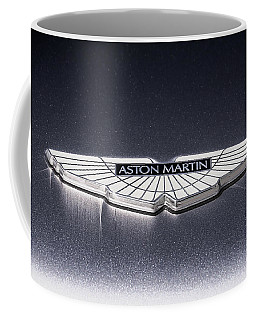 Coffee Mug featuring the digital art Aston Martin Badge by Douglas Pittman