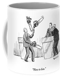 At A Candidate's Debate One Man Juggles Chainsaws Coffee Mug