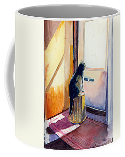 Coffee Mug featuring the painting At The Door by Katherine Miller