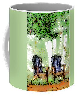 Coffee Mug featuring the digital art At The Edge Of The Woods by David Blank