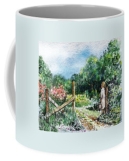 Coffee Mug featuring the painting At The Gate Summer Landscape by Irina Sztukowski