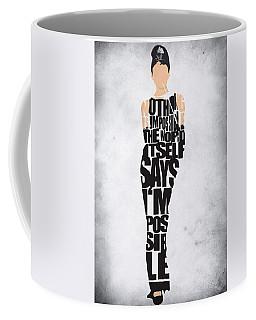 Audrey Hepburn Typography Poster Coffee Mug by Ayse Deniz