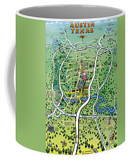 Austin Tx Cartoon Map Coffee Mug