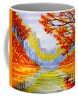 Coffee Mug featuring the painting Autumn At The Lake by Darren Robinson