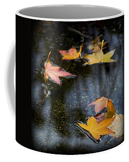 Coffee Mug featuring the photograph Autumn Leaves On Water by Yulia Kazansky