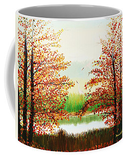 Autumn On The Ema River Estonia Coffee Mug