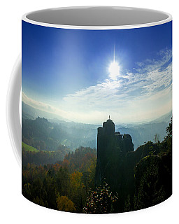 Autumn Sunrise In The Elbe Sandstone Mountains Coffee Mug