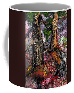 Coffee Mug featuring the painting Autumn Woods by Sherry Shipley