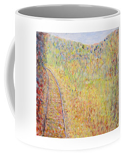 Autumns Maple Leaves And Train Tracks Coffee Mug