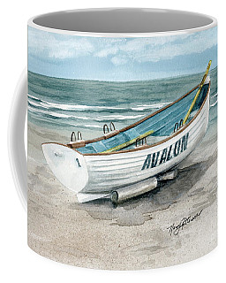 Coffee Mug featuring the painting Avalon Lifeguard Boat  by Nancy Patterson