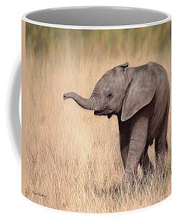 Elephant Calf Painting Coffee Mug by Rachel Stribbling