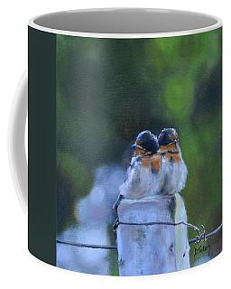 Baby Swallows On Post Coffee Mug