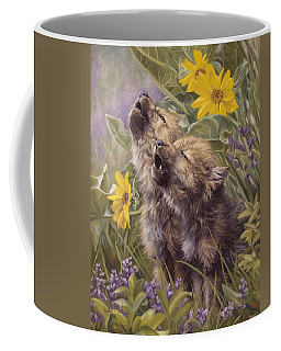Baby Wolves Howling Coffee Mug