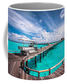 Baggy On The Jetty Over The Blue Lagoon Coffee Mug