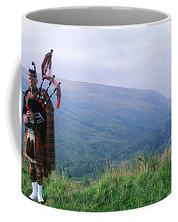 Bagpiper At Loch Broom In Scottish Coffee Mug
