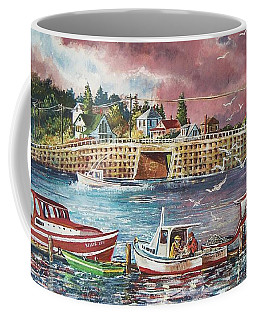 Coffee Mug featuring the painting Bailey Island Cribstone Bridge by Joy Nichols