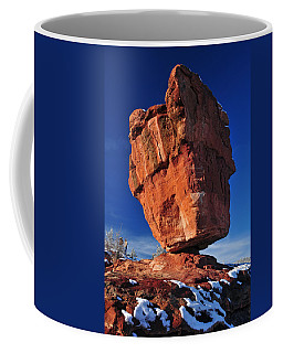 Balanced Rock At Garden Of The Gods With Snow Coffee Mug