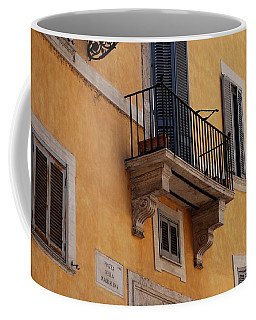 Coffee Mug featuring the photograph Balcony Piazza Della Madallena In Roma by Dany Lison