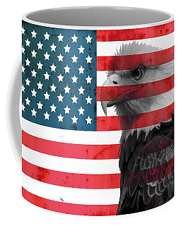 Bald Eagle American Flag Coffee Mug