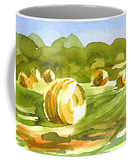 Coffee Mug featuring the painting Bales In The Morning Sun by Kip DeVore