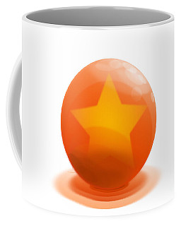 Coffee Mug featuring the sculpture orange Ball decorated with star white background by R Muirhead Art