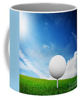 Ball On Tee On Green Golf Field Coffee Mug
