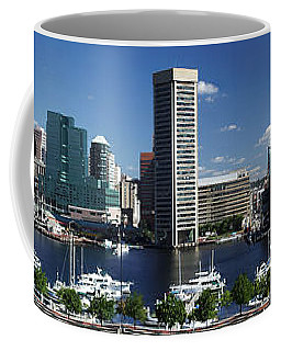 Coffee Mug featuring the photograph Baltimore Inner Harbor Panorama by Bill Swartwout