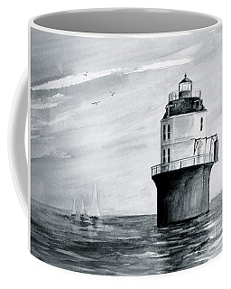 Baltimore Lighthouse In Gray  Coffee Mug by Nancy Patterson