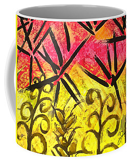 Coffee Mug featuring the painting Bamboo In The Wind by Joan Reese
