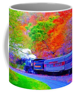 Coffee Mug featuring the painting Bang Bang Choo Choo Train-a Dreamy Version Collection by Catherine Lott