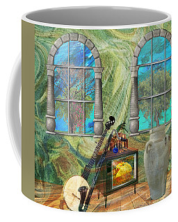 Coffee Mug featuring the mixed media Banjo Room by Ally  White