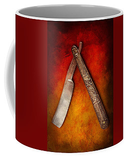 Barber - Shaving - Keep A Stiff Upper Lip Coffee Mug by Mike Savad