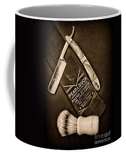 Barber - Tools For A Close Shave - Black And White Coffee Mug by Paul Ward