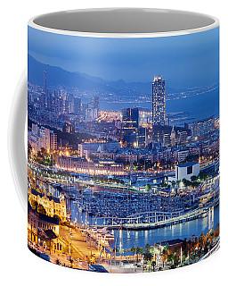 Barcelona Cityscape By Night Coffee Mug