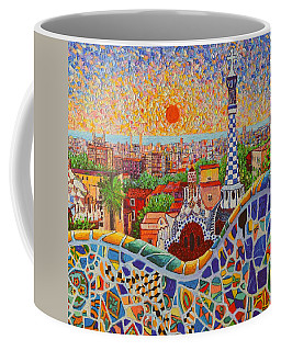 Barcelona Sunrise Light - View From Park Guell Of Gaudi - Square Format Coffee Mug