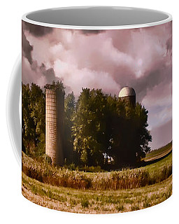 Coffee Mug featuring the photograph Barn And 2 Silos by Greg Jackson