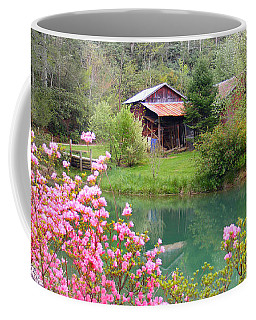 Barn And Flowers Near Pond Coffee Mug