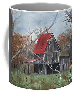 Coffee Mug featuring the painting Barn - Red Roof - Autumn by Jan Dappen