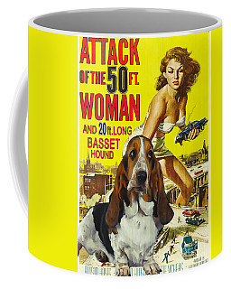 Basset Hound Art Canvas Print - Attack Of The 50ft Woman Movie Poster Coffee Mug