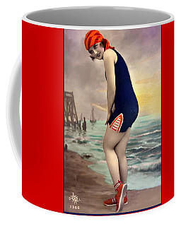 Bathing Beauty In Orange And Navy Bathing Suit Coffee Mug