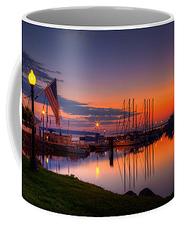 Bayfield Wisconsin Fire In The Sky Over The Harbor Coffee Mug