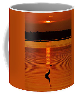 Bayside Ripples - A Heron Takes An Evening Stroll As The Sun Sets Behind The Clouds On The Bay Coffee Mug