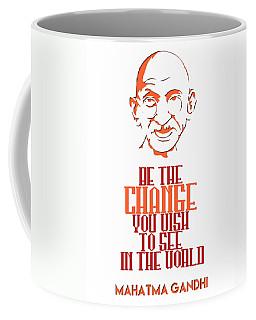 Be The Change - Mahatma Gandhi Minimalist Quotation Poster V2 Coffee Mug