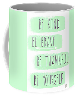 Be Yourself- Mint And White Inspirational Art Coffee Mug