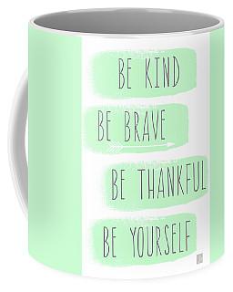 Be Yourself- Mint And White Inspirational Art Coffee Mug