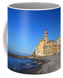 Coffee Mug featuring the photograph beach and church in Camogli by Antonio Scarpi