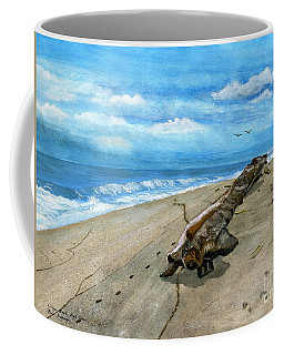 Coffee Mug featuring the painting Beach Drift Wood by Melly Terpening